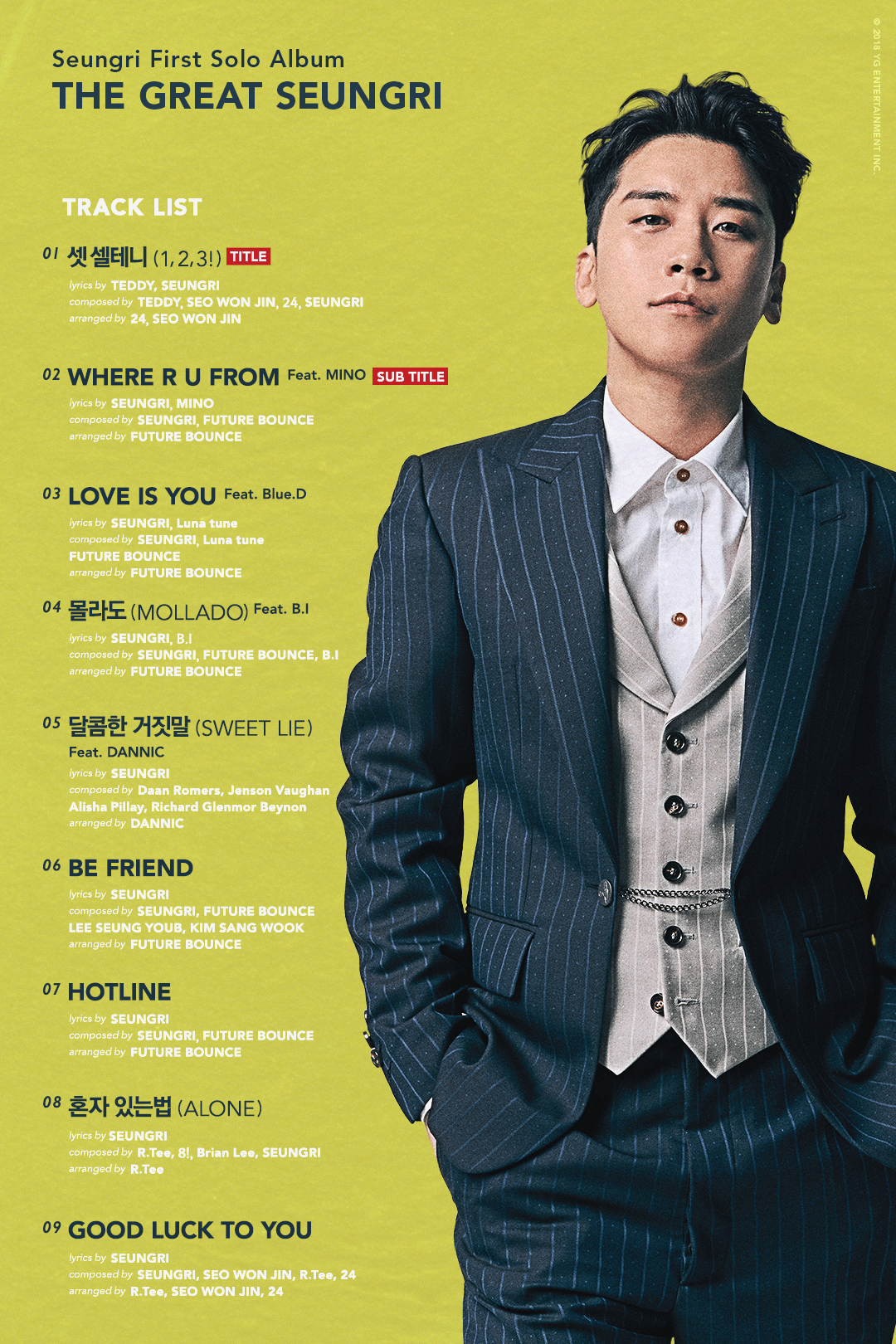 BIGBANG老幺SeungRi大勢回歸!9首新歌,您聽了嗎?